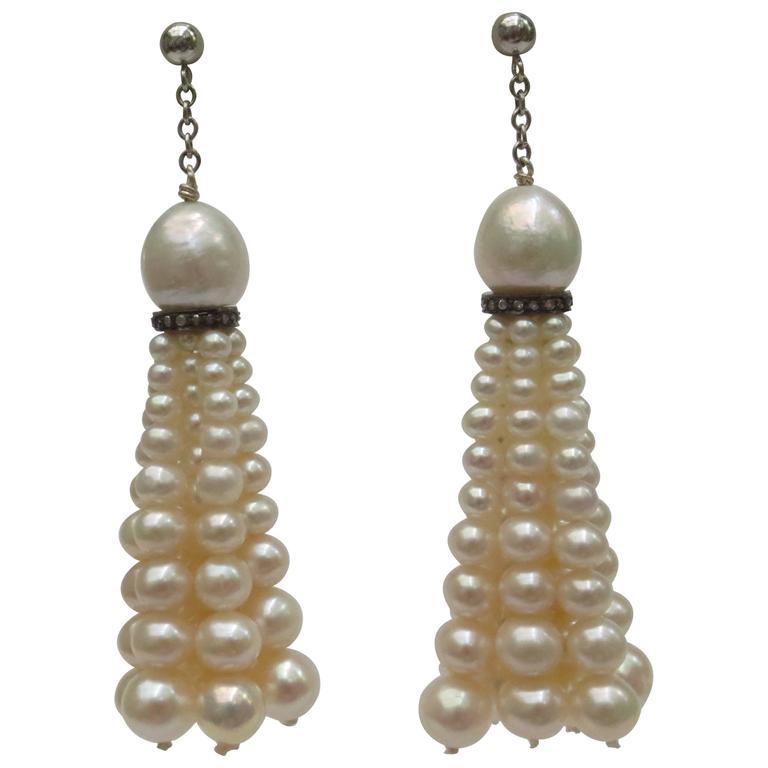 Graduated Cultured Pearl Diamond Silver Gold Tassel Earrings