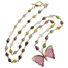 Pink Mint Green Watermelon Tourmaline Gold Butterfly Necklace