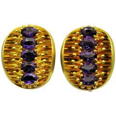 1980s Larre of New York Artistic Amethyst Gold Earrings