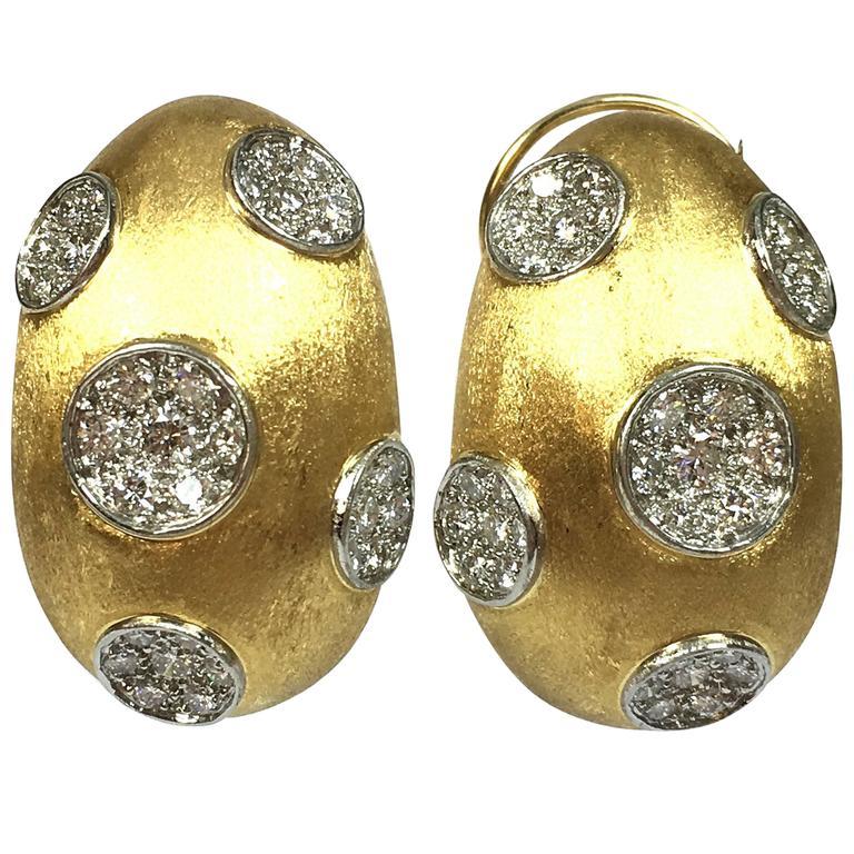 Hammerman Brothers Large Diamond Gold Platinum Earrings