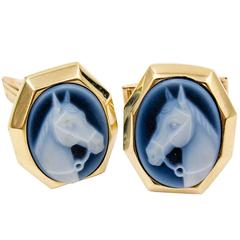 Handsome Gold and Horse Head Cameo Cufflinks