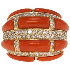 Coral Diamonds Gold Ring