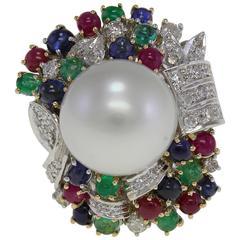 Large Pearl Multicolor Stones Diamond Gold Ring