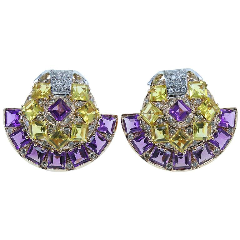 Amethyst Topaz Diamond Gold Fan Earrings For Sale