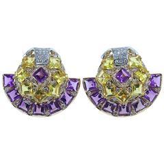 Luise Amethyst Topaz Diamond Gold Fan Earrings