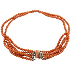 Natural Undyed Coral Choker Necklace