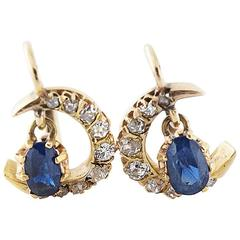 1910s French Sapphire Diamond Gold Moon Earrings