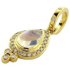 Temple St. Clair Moonstone Diamond Gold Pear Drop Pendant