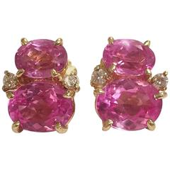 Mini  GUM DROP™ Earrings with Two Toned Pink Topaz and Diamonds