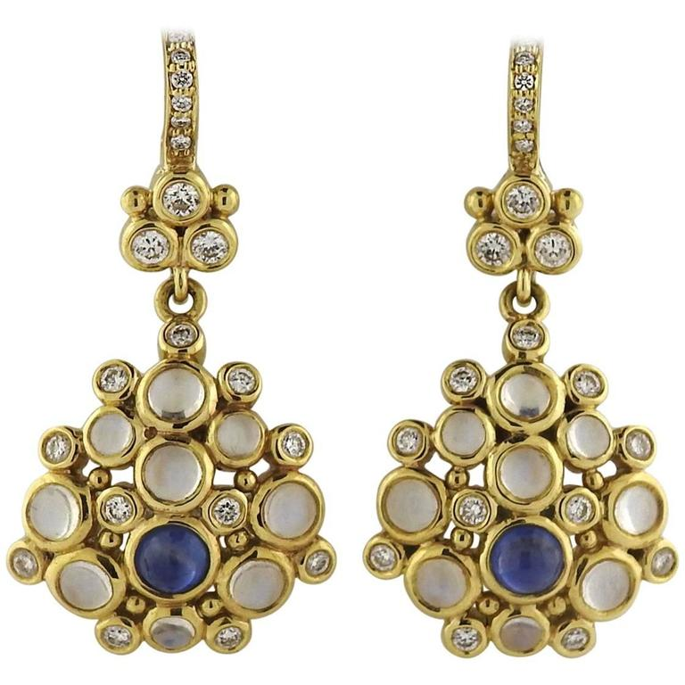 Temple St. Clair Moonstone Sapphire Diamond Gold Drop Earrings
