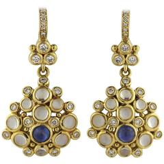Temple St. Clair Moonstone Sapphire Diamond Gold Drop Earrings