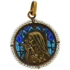 Art Deco 1920s Plique A Jour Seed Pearl Gold Madonna Pendant