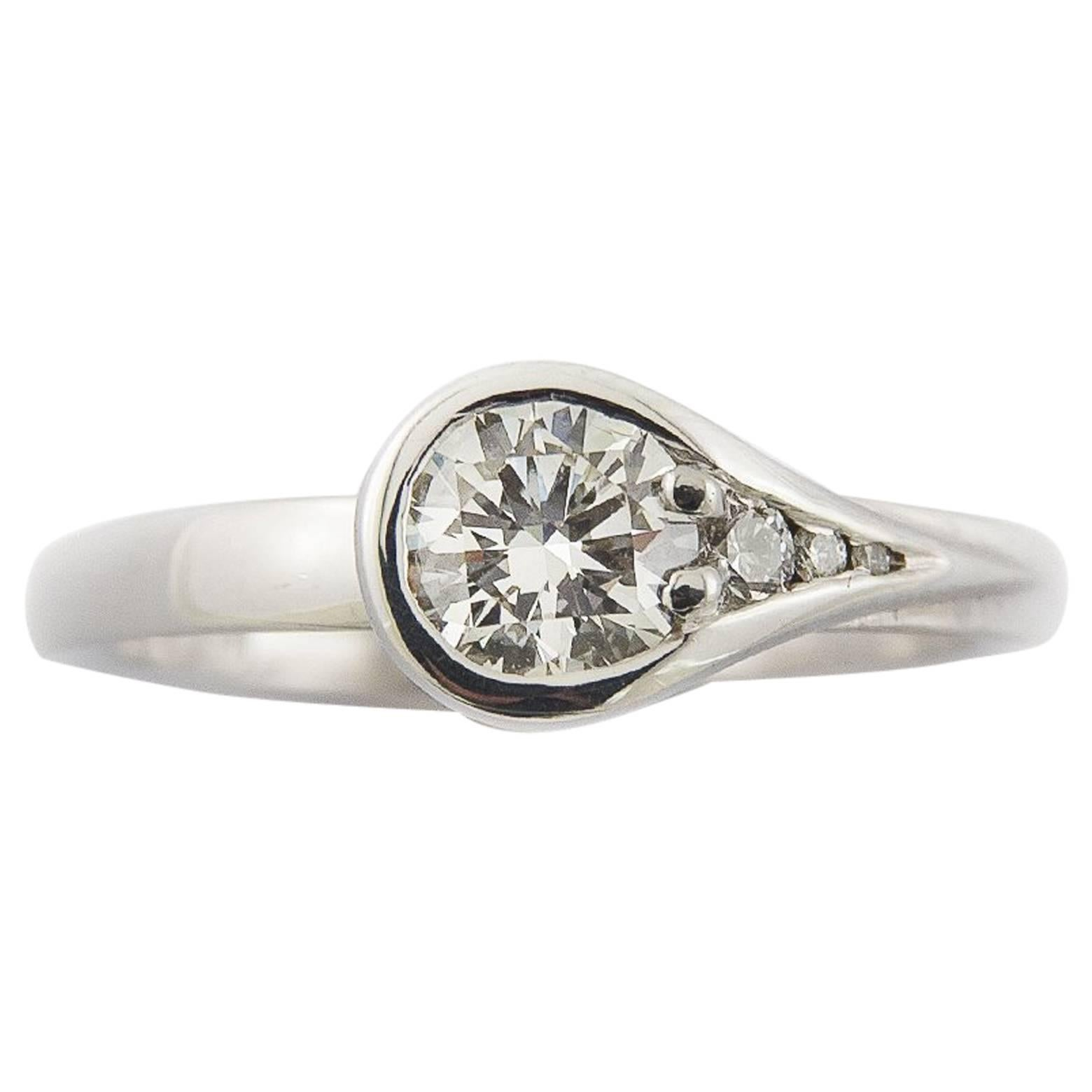 Diamond White Gold Asymmetric Modern Engagement Ring