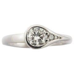 Diamond White Gold Asymmetric Modern Engagement Ring