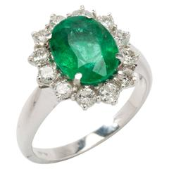 Emerald Diamond 18 Carat White Gold Cocktail Ring