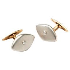 Pair of Platinum and Gold Cufflinks with Diamonds