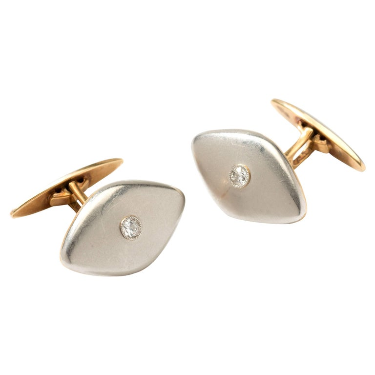 Pair of Platinum and Gold Cufflinks with Diamonds For Sale