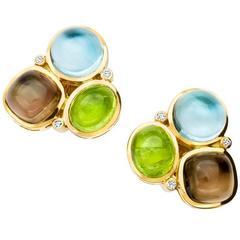 Cassandra Goad Peridot Smoky Quartz Blue Topaz Gold Fuscata Earrings