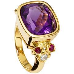 Cassandra Goad Amethyst Ruby Gold Amulet Ring