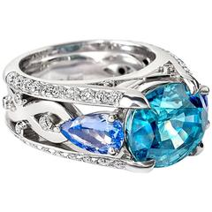 Cassandra Goad Blue Zircon Tanzanite Gold Amalie Ring