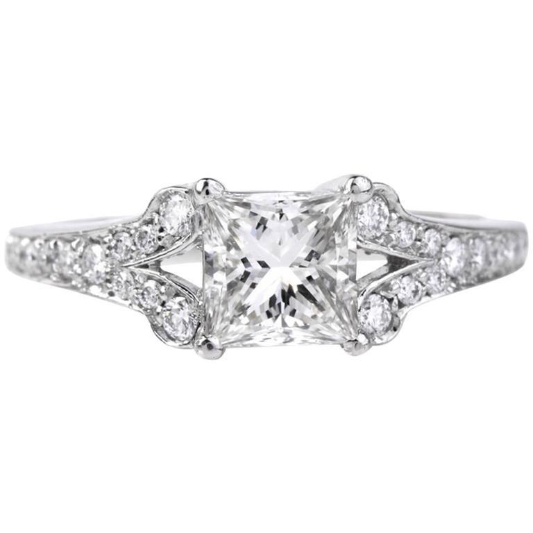 1.01 Carat GIA Certified Princess Cut Diamond Platinum Engagement Ring