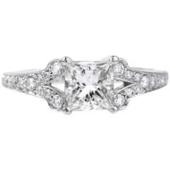 1.01 Carat GIA Certified Princess Cut Diamond Platinum Engagement Ring