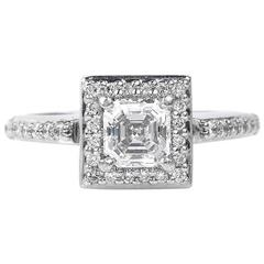 Art Deco .75 Carat GIA Certified Asscher Cut Diamond Platinum Engagement Ring