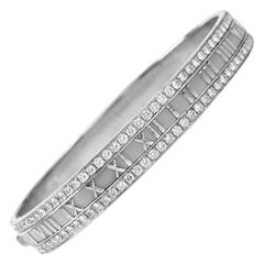 Tiffany & Co. Atlas Collection 2.46 Carats Diamond Gold Bangle Bracelet