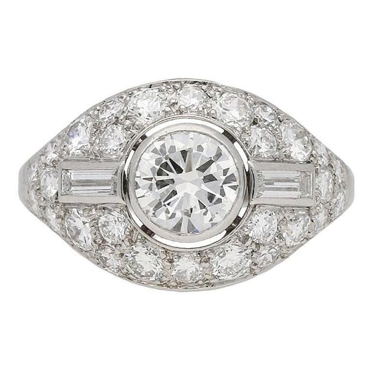 Diamond Cluster Ring by Boucheron Paris, circa 1950s For Sale