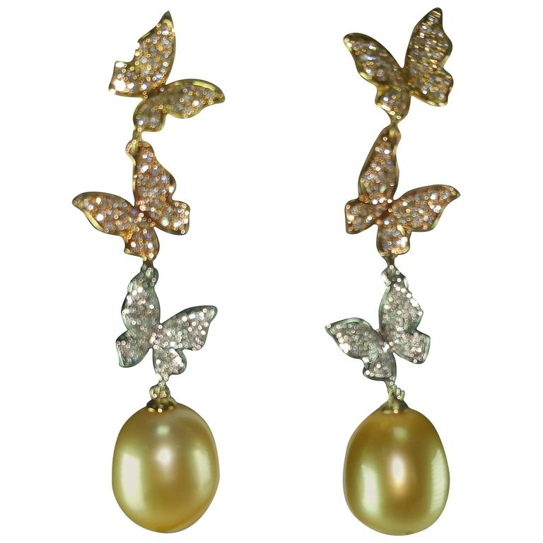 Natural Color South Sea and Golden Pearl Diamond Gold Butterfly Dangle Earrings