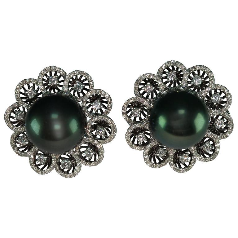 Tahitian Pearl Diamond Gold Omega Clip Earrings