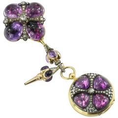 French Gothic Revival Amethyst Rose Cut Diamond Gold Pocket Watch