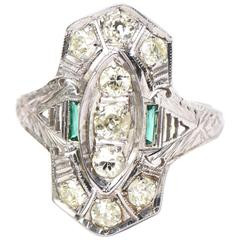 Art Deco Diamond Glass Gold Ring