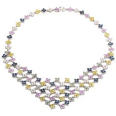 Citra Multi-Sapphire Diamond Gold Bib Necklace