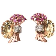Retro Ruby Diamond Gold Clip-On Earrings