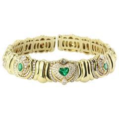 Impressive Italian Emerald Diamond Gold Collar Necklace
