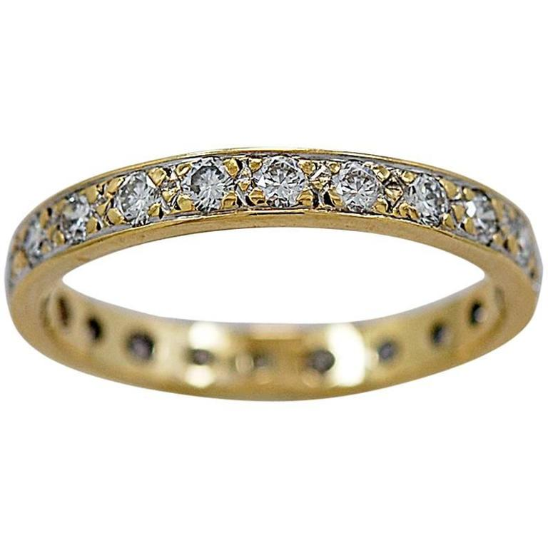 1.00 Carats Diamonds Gold Eternity Band Ring
