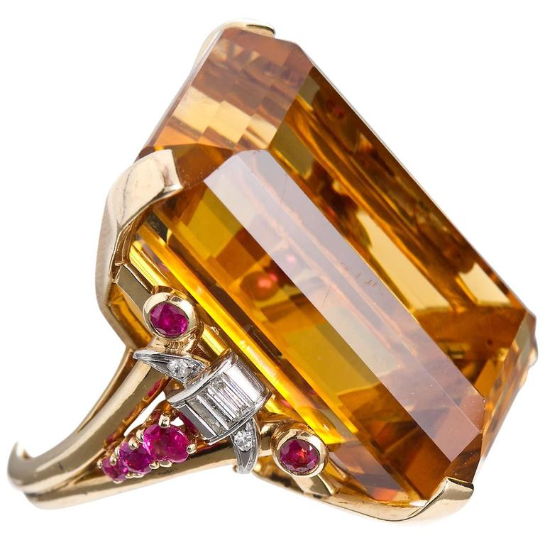 Retro 75 Carat Citrine Ruby Diamond Two Color Gold Ring