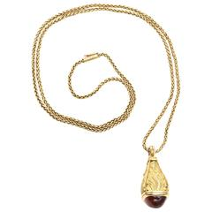 European Amulet 18 Karat Gold, Citrine and Diamond Drop Pendant Necklace