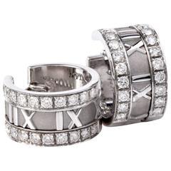Tiffany & Co. Atlas Collection Diamond Gold Hoop Earrings