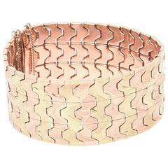 Italian Two Color Gold Zig Zag Wide Cuff Bracelet