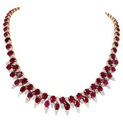Stunning Ruby Diamond Gold Necklace