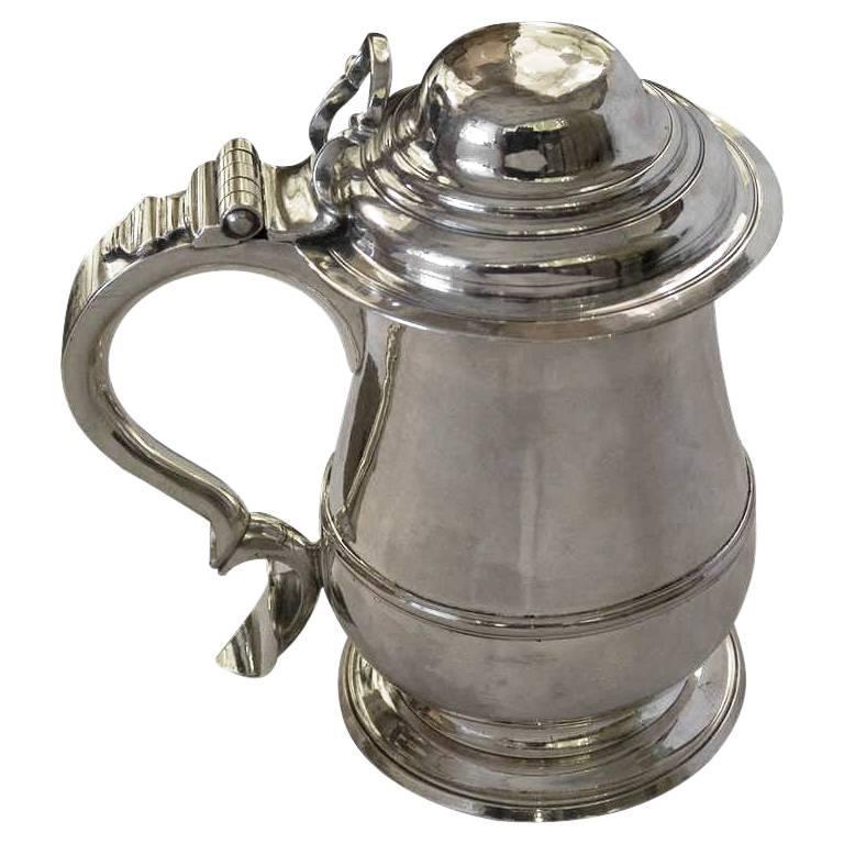 English Silver Georgian 18th Century Lidded Tankard by Humphrey Payne
