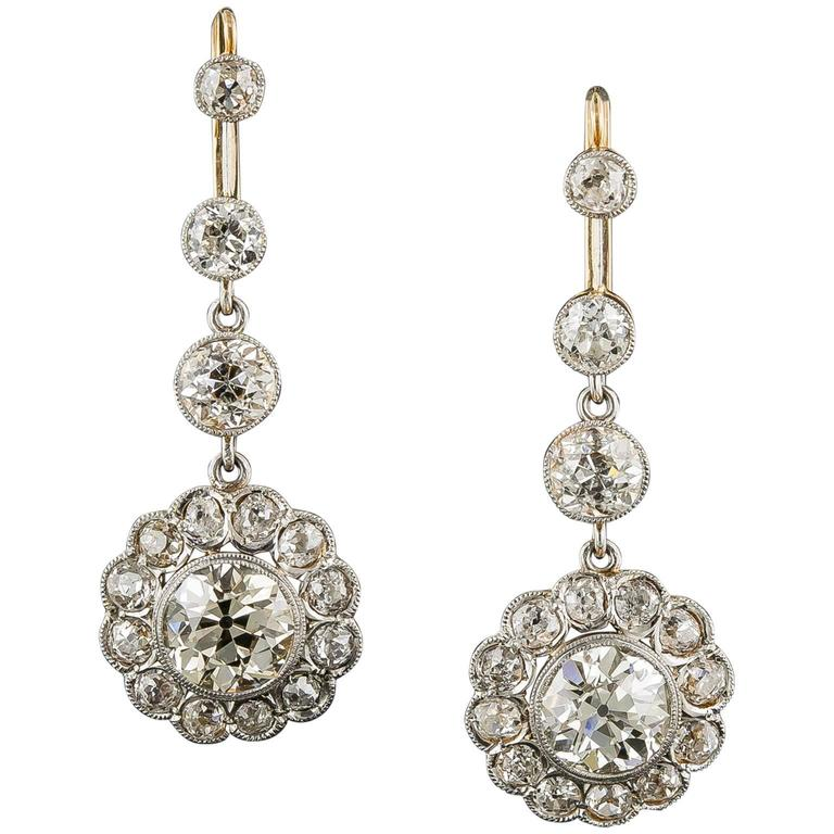 7.50 Carat Diamond Gold Platinum Cluster Dangle Drops 1