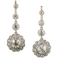 7.50 Carat Diamond Gold Platinum Cluster Dangle Drops
