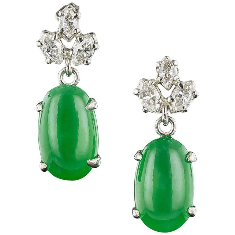 Natural Jadeite Diamond Platinum Earrings 1