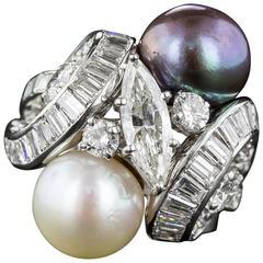David Webb Pearl Diamond Platinum Ring