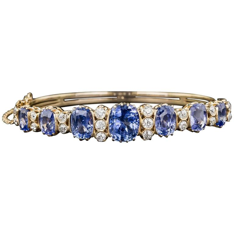 18 Carats No-Heat Ceylon Sapphire Diamond Gold Bangle Bracelet 1
