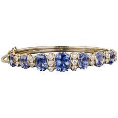 18 Carats No-Heat Ceylon Sapphire Diamond Gold Bangle Bracelet