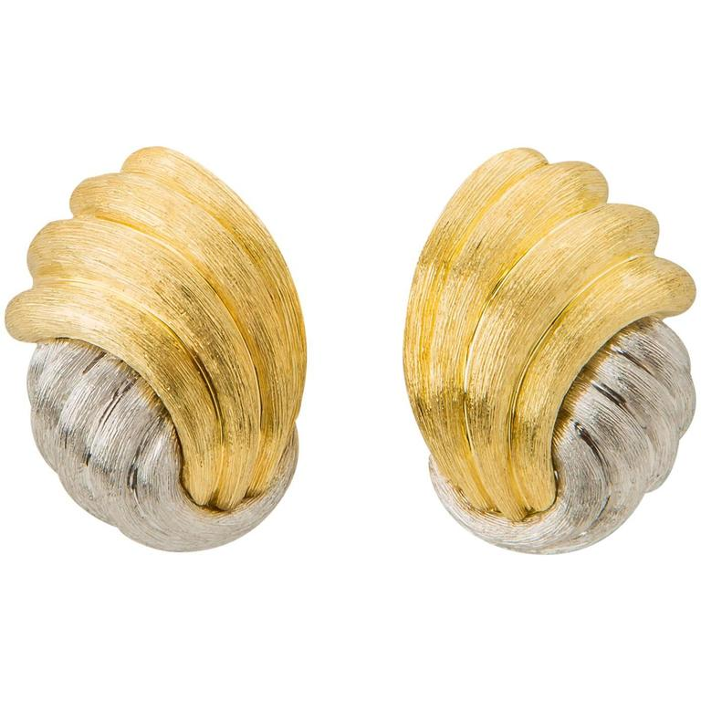 Henry Dunay Sabi Finish Gold and Platinum Earrings For Sale